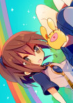 1girl :d ana_(rznuscrf) arle_nadja bangs blue_footwear blue_scrunchie blue_skirt blush boots brown_eyes brown_hair bunny carbuncle_(puyopuyo) dutch_angle eyebrows_visible_through_hair hair_between_eyes hair_ornament hair_scrunchie high_ponytail looking_at_viewer madou_monogatari open_mouth pleated_skirt ponytail puyopuyo rainbow scrunchie shirt short_sleeves sitting skirt smile sparkle white_shirt