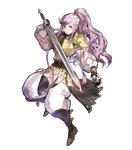 1girl akira_(kaned_fools) armor bangs belt black_gloves black_legwear boots braid breastplate brown_footwear detached_sleeves eyebrows_visible_through_hair fingerless_gloves fire_emblem fire_emblem:_kakusei fire_emblem_heroes full_body gloves hairband high_ponytail highres holding holding_sword holding_weapon knee_boots long_hair long_sleeves looking_at_viewer official_art olivia_(fire_emblem) open_mouth pelvic_curtain pink_hair ponytail purple_eyes shoulder_armor solo striped sword transparent_background twin_braids weapon