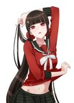 1girl arm_up bakemonogatari bangs black_sailor_collar black_skirt blunt_bangs brown_hair danganronpa eyebrows_visible_through_hair groin hair_ornament hair_scrunchie harukawa_maki highres long_hair long_sleeves looking_at_viewer midriff monogatari_(series) navel neck_ribbon new_danganronpa_v3 parody piatin plaid plaid_skirt pleated_skirt pose red_eyes red_scrunchie red_shirt ribbon sailor_collar scrunchie shirt simple_background skirt solo standing stomach twintails very_long_hair white_background white_ribbon