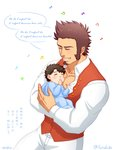 2boys baby baby_carry beard black_hair blush brown_hair chest closed_eyes commentary facial_hair fate/grand_order fate_(series) fatherly fujimaru_ritsuka_(male) highres long_sleeves lyrics male_focus multiple_boys muscle music napoleon_bonaparte_(fate/grand_order) pants scar simple_background singing smile suzuki80 translated