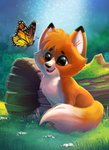 :d brown_eyes bug butterfly chibi commentary day disney english_commentary eric_proctor fangs flying fox grass happy insect open_mouth outdoors sitting smile the_fox_and_the_hound tod_(the_fox_and_the_hound)