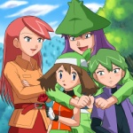 2boys 2girls :d :o alternate_costume arm_around_neck bandana bangs belt belt_pouch blue_eyes blush brown_hair cloud coat couple crossed_arms day embarrassed flower gloves green_hair harley_(pokemon) haruka_(pokemon) hat holding hug hug_from_behind long_hair long_sleeves looking_at_another lowres mountain multiple_boys multiple_girls open_clothes open_mouth open_shirt outdoors pants pokemoa pokemon pokemon_(anime) pokemon_ag pouch purple_hair red_flower red_hair red_rose rose saori_(pokemon) shirt short_hair short_sleeves shuu_(pokemon) sky smile swept_bangs tree
