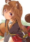 1girl animal_ear_fluff animal_ears bangs blush brown_hair collar collarbone commentary_request dress eyebrows_visible_through_hair long_hair long_sleeves looking_at_viewer mamedenkyuu_(berun) purple_eyes raccoon_ears raccoon_girl raccoon_tail raphtalia sitting smile solo sword tail tate_no_yuusha_no_nariagari wariza weapon