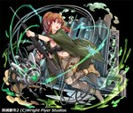 1girl belt black_background black_bra boots bra breasts brown_hair cable cape cleavage copyright_request fingernails glowing green_cape grey_pants gun hair_between_eyes holding holding_gun holding_weapon jumping knee_pads large_breasts long_hair midriff navel official_art open_mouth original pants ponytail pop_kyun pouch purple_eyes rifle robot scope simple_background sniper_rifle solo underwear watermark weapon wristband