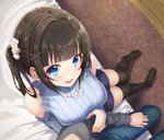 1boy 1girl azuki_yui bangs bare_shoulders black_legwear black_skirt blue_eyes blush breasts brown_hair commentary_request eyebrows_visible_through_hair from_above hair_ornament large_breasts on_bed original sitting skirt thighhighs two_side_up x_hair_ornament
