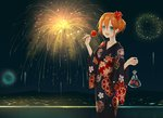 1girl :d bag black_kimono blue_eyes candy_apple eyebrows_visible_through_hair fireworks fish floral_print flower food goldfish hair_between_eyes hair_bun hair_flower hair_ornament highres holding japanese_clothes kimono kousaka_honoka love_live! love_live!_school_idol_project night open_mouth orange_hair outdoors plastic_bag red_flower shiny shiny_hair short_hair smile solo standing tied_hair user_mnwn3283 yukata