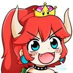1girl :d blue_eyes blush bowsette collar commentary crown earrings eyelashes fangs fream gyate_gyate horns jewelry long_hair mario_(series) meme new_super_mario_bros._u_deluxe open_mouth ponytail red_hair smile solo spiked_armlet spiked_collar spikes super_crown transparent_background turtle_shell v-shaped_eyebrows watermark