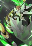 1girl :  bangs belt belt_buckle beltbra breasts buckle cleavage closed_mouth clover dark_skin fingernails four-leaf_clover from_above guilty_gear guilty_gear_xrd hair_between_eyes hat head_tilt highres long_hair looking_at_viewer medium_breasts orange_eyes ramlethal_valentine short_shorts shorts solo sou_(pale_1080) sword weapon white_belt white_hair white_shorts