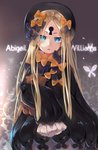 1girl abigail_williams_(fate/grand_order) absurdres bangs black_bow black_dress black_headwear blonde_hair blue_eyes blush bow bug butterfly character_name commentary_request dress fate/grand_order fate_(series) forehead highres holding holding_stuffed_animal insect keyhole long_hair long_sleeves looking_at_viewer orange_bow parted_bangs parted_lips polka_dot polka_dot_bow sleeves_past_fingers sleeves_past_wrists solo stuffed_animal stuffed_toy teddy_bear torieto very_long_hair