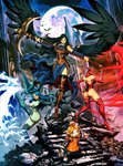 3girls alternate_form ass bare_shoulders bat black_hair black_wings blood bloody_tears blue_eyes bodysuit breasts castlevania castlevania:_order_of_ecclesia cat claws covered_nipples demon_girl genzoman highres hips kicking long_hair medium_breasts moon multiple_girls robot scythe see-through shanoa skull stairs succubus thighhighs thighs wings