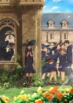 1boy 6+girls absurdres blurry blurry_foreground boots box broom brown_hair building cape commentary_request day depth_of_field falling flower gift gift_box glasses grass hat highres multiple_girls nervous original outdoors school somehira_katsu standing valentine witch witch_hat