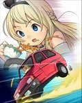 1girl blonde_hair blue_eyes braid car close-up commentary_request crown cup dress driving emphasis_lines french_braid ground_vehicle highres inset jewelry kantai_collection long_hair mini_crown mizuki_kyouto motion_lines motor_vehicle necklace off-shoulder_dress off_shoulder reliant_robin solo spill spilling tea teacup upper_body warspite_(kantai_collection) zoom_layer