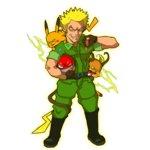 1boy blonde_hair blue_eyes boots combat_boots electricity grin gym_leader kafun machisu_(pokemon) military military_uniform pikachu poke_ball pokemon pokemon_(game) pokemon_rgby raichu sleeveless smile spiked_hair thumbs_down uniform voltorb waist_poke_ball white_background