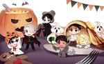 6+boys animal_costume bandages bat black_hair blonde_hair blue-framed_eyewear blue_eyes bolt brown_eyes cape cellphone fang food fork gingerbread_man glasses green_eyes grey_eyes hair_over_one_eye halloween hat jack-o'-lantern katsuki_yuuri korean_clothes korean_traditional_hat lee_seung-gil makkachin male_focus miniboy multiple_boys one_eye_closed one_knee open_mouth otabek_altin pancake phichit_chulanont phone pinkiepies2 self_shot selfie_stick silver_hair smartphone smile sparkle v viktor_nikiforov whipped_cream wolf_costume yuri!!!_on_ice yuri_plisetsky