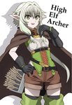 arrow asymmetrical_sleeves boots bow character_name cloak elf gloves goblin_slayer! green_eyes green_hair hair_bow hand_on_hip high_elf_archer_(goblin_slayer!) hood hooded_cloak onomekaman open_mouth pointy_ears shorts sidelocks simple_background smile thigh_boots thighhighs white_background