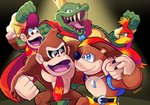 1girl 4boys absurdres ape artist_request backpack bag banjo-kazooie banjo_(banjo-kazooie) bear bird blue_eyes brown_hair creator_connection crocodilian crossover crown diddy_kong donkey_kong donkey_kong_(series) donkey_kong_country feathers green_eyes hat highres kazooie_(banjo-kazooie) king_k._rool looking_at_viewer multiple_boys necktie open_mouth sharp_teeth shorts simple_background smile super_smash_bros. teeth wings