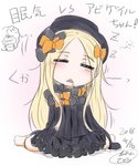 1girl :< =_= abigail_williams_(fate/grand_order) bangs barefoot black_bow black_dress black_hat blonde_hair blush bow bug butterfly closed_eyes dated dress drooling eyebrows_visible_through_hair facing_viewer fate/grand_order fate_(series) forehead hair_bow hat head_tilt highres insect long_hair long_sleeves neon-tetora orange_bow parted_bangs parted_lips signature sitting sleeping sleeves_past_fingers sleeves_past_wrists solo translation_request triangle_mouth very_long_hair wariza zzz
