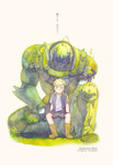 1boy alphonse_elric animal armor armor_removed arms_at_sides artist_name bird black_jacket black_shirt blonde_hair boots character_name collared_shirt copyright_name dated eyebrows_visible_through_hair full_armor fullmetal_alchemist grass highres jacket light_smile looking_at_viewer male_focus moss open_clothes open_shirt plant shelattic shirt short_sleeves shorts simple_background sitting sitting_on_object solo translation_request white_background white_shirt yellow_eyes