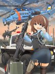 1girl aircraft armband assault_rifle bangs belt brown_hair building cartridge dshk eyebrows eyebrows_visible_through_hair eyes_visible_through_hair gloves ground_vehicle gun hair_between_eyes handgun hat heavy_machine_gun helicopter highres holding holding_gun holding_weapon holster holstered_weapon looking_at_viewer machine_gun mi-24 mikeran_(mikelan) military military_vehicle motor_vehicle original outdoors police police_hat police_uniform policewoman power_lines rifle road rocket_launcher rpg rpg-7 scenery short_hair shotgun shotgun_shells sky street suzuki suzuki_jimny telephone_pole truck uniform weapon