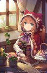 1girl :o animal_ears animal_hood basket blue_eyes blush book braid brown_hair center_frills chair character_request cloak commentary_request curtains fake_animal_ears flower frills grimms_echoes hood hood_up hooded_cloak indoors long_hair looking_at_viewer object_hug on_chair parted_lips pink_flower red_cloak roll_okashi shirt side_braid single_braid sitting solo table white_shirt window