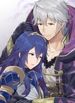 1boy 1girl a_meno0 armor black_gloves black_sweater blue_armor blue_eyes blue_hair closed_mouth collarbone commentary_request fire_emblem fire_emblem_awakening fire_emblem_heroes gloves grima_(fire_emblem) hair_between_eyes hair_ornament hood hooded_robe hug long_hair lucina open_clothes parted_lips red_eyes ribbed_sweater robe robin_(fire_emblem) robin_(fire_emblem)_(male) shirt short_hair simple_background sweater tiara white_hair white_shirt