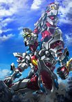 back-to-back blue_sky building clenched_hands cloud commentary denkou_choujin_gridman dust_cloud from_below giant glowing glowing_eyes gridman_(character) gridman_(ssss) highres looking_back paintedmike ruins sky squatting ssss.gridman yellow_eyes