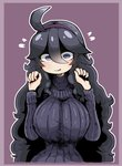 1girl ahoge al_bhed_eyes alternate_breast_size breasts dress hairband hex_maniac_(pokemon) highres large_breasts long_hair messy_hair pokemon pokemon_(game) pokemon_xy purple_background ribbed_sweater solo sweater tagme tazonotanbo