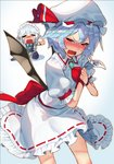 2girls =_= apron ascot bat_wings black_legwear blue_hair bow braid brooch commentary_request crying crying_with_eyes_open dress fang frills green_bow green_neckwear hat hat_ribbon holding_photo izayoi_sakuya jewelry maid_headdress mob_cap multiple_girls open_mouth photo_(object) puffy_short_sleeves puffy_sleeves red_eyes red_neckwear red_ribbon remilia_scarlet ribbon seiza short_hair short_sleeves silver_hair sitting sukocchi tears thighhighs touhou twin_braids white_dress wings wristband