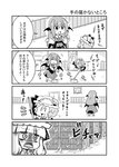 3girls 4koma :3 :d ^_^ alternate_costume apron bangs bat_wings blunt_bangs bookshelf bow bowtie chibi cleaning clock closed_eyes collared_shirt comic commentary cupboard detached_wings door enmaided eyebrows_visible_through_hair flying_sweatdrops frame grandfather_clock greyscale hat hat_bow hat_ribbon head_wings highres holding indoors koakuma long_hair long_sleeves looking_at_another maid maid_apron maid_headdress mob_cap monochrome mop motion_lines multiple_girls necktie noai_nioshi open_mouth patch patchouli_knowledge puffy_short_sleeves puffy_sleeves remilia_scarlet ribbon ribbon-trimmed_headwear ribbon_trim shadow shirt short_hair short_sleeves sidelocks skirt skirt_set smile speech_bubble standing touhou translated vest waist_apron wet wing_collar wings you're_doing_it_wrong |_|