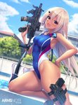 1girl :d arms_note blue_sky breasts brown_hair building cloud commentary_request competition_swimsuit fang fukai_ryousuke goggles gun handgun highres holster holstered_weapon leg_holster long_hair one-piece_swimsuit open_mouth pistol poolside sky smile solo submachine_gun swimsuit wall weapon yellow_eyes