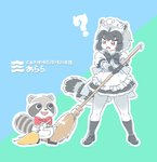 1girl ? alternate_costume animal_ears apron arara_(mascot) back_bow black_hair bow bowtie broom commentary_request common_raccoon_(kemono_friends) elbow_gloves enmaided eyebrows_visible_through_hair fangs frilled_skirt frills fur_collar gloves grey_hair kemono_friends maid maid_apron maid_dress maid_headdress mascot mitsumoto_jouji multicolored_hair open_mouth pantyhose puffy_short_sleeves puffy_sleeves raccoon_ears raccoon_tail short_hair short_sleeves skirt socks tail translated