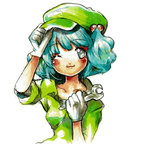 1girl :3 ;3 aqua_eyes aqua_hair arm_up blue_hair blush blush_stickers collarbone engineer gloves hair_bobbles hair_ornament hand_on_headwear hands_up hat highres kawashiro_nitori key looking_at_viewer mini_kibou one_eye_closed short_hair short_sleeves simple_background smile solo touhou traditional_media two_side_up upper_body white_background white_gloves wrench