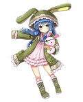 1girl animal_hood bad_id blue_eyes blue_hair boots bunny_hood bunny_puppet date_a_live hand_puppet hood imyu long_hair looking_at_viewer parted_lips puppet yoshino_(date_a_live) yoshinon