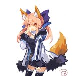 1girl alternate_costume animal_ears asagiri_asagi asagiri_asagi_(cosplay) belt blue_ribbon brown_eyes coat commentary_request cosplay crestquest disgaea fang fate_(series) fox_ears fox_tail fur-trimmed_hood fur-trimmed_sleeves fur_coat fur_trim hair_between_eyes hair_ribbon highres long_sleeves looking_at_viewer nippon_ichi open_mouth pink_hair ribbon signature simple_background solo tail tamamo_(fate)_(all) tamamo_no_mae_(fate) thighhighs white_background zettai_ryouiki