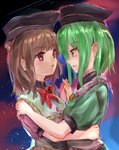 2girls absurdres aura bangs bow bowtie brown_hair cloud commentary_request dress eye_contact eyebrows_visible_through_hair green_dress green_eyes green_hair hand_on_another's_back hand_on_another's_shoulder hat highres holding_hands ikazuchi_akira interlocked_fingers looking_at_another multiple_girls nishida_satono outdoors parted_lips puffy_short_sleeves puffy_sleeves purple_dress purple_eyes red_neckwear short_hair short_sleeves sidelocks sketch sky standing star_(sky) starry_sky tate_eboshi teireida_mai touhou twilight upper_body yuri