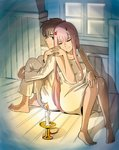 1boy 1girl albyee back-to-back bangs barefoot black_hair blue_eyes candle candlestand closed_eyes collarbone commentary commentary_typo couple darling_in_the_franxx english_commentary fingernails hand_on_own_knee hetero highres hiro_(darling_in_the_franxx) holding_hands horns leg_hug long_hair looking_back nightgown oni_horns pajamas pink_hair red_horns short_hair sitting sleeveless white_pajamas zero_two_(darling_in_the_franxx)