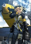 1girl adjusting_hair aircraft bag bf_109 blonde_hair blue_sky clipboard cloud day eyebrows_visible_through_hair from_below goggles goggles_on_head harness landing_gear looking_at_viewer military military_vehicle original propeller red_eyes satchel siqi_(miharuu) sketch sky smile solo