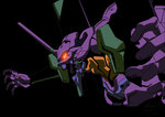 2011 armor black_background dated eva_01 glowing glowing_eyes highres iceebaby mecha neon_genesis_evangelion no_humans open_mouth red_eyes simple_background solo teeth