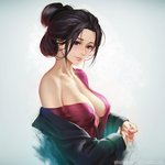 1girl artist_name black_hair blush breasts brown_eyes cleavage commentary emma_the_gentle_blade forehead from_side gradient gradient_background grey_background hair_bun long_hair long_sleeves looking_at_viewer looking_to_the_side medium_breasts nail_polish nudtawut_thongmai off_shoulder own_hands_together parted_lips patreon_logo pink_nails sekiro:_shadows_die_twice single_bare_shoulder smile solo upper_body