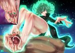 1boy 1girl ass cum cum_on_body cum_on_lower_body feet footjob from_below green_eyes green_hair k.ty_(amejin) manicure oil oiled one-punch_man penis sweat tatsumaki testicles thighs toenail_polish