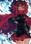 1girl absurdres black_shirt blue_bow bow cape commentary hair_bow highres kaamin_(mariarose753) long_sleeves looking_at_viewer miniskirt pleated_skirt red_cape red_eyes red_hair red_skirt sekibanki shirt short_hair skirt solo touhou