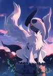 :< bluekomadori cloud full_body highres looking_up mega_absol no_humans outdoors pokemon red_eyes signature sky squatting white_wings wings