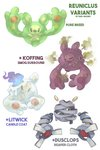 artist_name character_name commentary creature dar-draws dusclops english_commentary english_text fire flame full_body fusion gen_1_pokemon gen_3_pokemon gen_5_pokemon highres koffing litwick looking_at_viewer no_humans pokemon pokemon_(creature) reuniclus simple_background smoke white_background