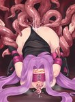 1girl all_the_way_through anal ass bestiality blindfold bound bound_arms commentary_request detached_sleeves eyebrows_visible_through_hair facial_mark fate/stay_night fate_(series) forehead_mark highres hikichi_sakuya long_hair open_mouth panties panties_aside purple_eyes purple_hair rider saliva square_pupils tentacle_sex tentacles underwear very_long_hair