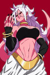 1girl alternate_form android_21 black_nails black_sclera bracelet breasts detached_sleeves dragon_ball dragon_ball_fighterz earrings fingernails harem_pants highres hoop_earrings imdsound jewelry lavender_hair long_hair majin_android_21 nail_polish navel pants pink_skin pointy_ears red_eyes sharp_fingernails smile solo spoilers stomach tail upper_body white_hair