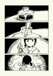 1girl 4koma comic desk drawer drawing expressionless greyscale highres holding holding_pen hood hoodie ink inkwell monochrome nib_pen_(object) no_nose original paper pas_(paxiti) pen ponytail short_hair