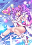 1girl aisha_(elsword) armpits bare_shoulders blush bubble dimension_witch_(elsword) elsword eyebrows_visible_through_hair gloves haiumore magic_circle magical_girl sky smile staff star thighs twintails