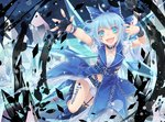 !! (9) 1girl \m/ ahoge alternate_costume arms_up asymmetrical_legwear belt blue_eyes blue_hair blurry bokeh bow bracelet choker cirno collarbone commentary depth_of_field eyelashes facial_mark fangs fingerless_gloves fingernails garter_straps gloves hair_bow ice ice_wings jewelry jumping looking_at_viewer midriff nail_polish navel night open_mouth outstretched_arms puffy_short_sleeves puffy_sleeves punk ring short_hair short_shorts short_sleeves shorts sky snowflakes solo star star_(sky) tattoo touhou toutenkou tree wings