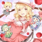 4girls :d apple ascot blonde_hair blouse blue_hair chibi chikuwa_savi d:< dress drill_hair elly food frilled_dress frills fruit green_hair hat hat_ribbon hinanawi_tenshi komeiji_koishi long_hair multiple_girls open_mouth outstretched_arms red_eyes ribbon rumia scythe short_hair skirt smile spread_arms third_eye touhou touhou_(pc-98) vest yellow_eyes