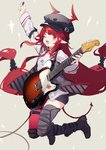 1girl arknights bangs black_headwear black_shorts blunt_bangs braid demon_tail electric_guitar fender guitar hat highres instrument jumping long_hair long_sleeves looking_at_viewer necktie one_eye_closed open_mouth plectrum pointy_ears red_eyes red_hair red_neckwear sh_(562835932) shirt shorts single_thighhigh sketch smile solo tail telecaster thighhighs tied_hair very_long_hair vigna_(arknights) white_shirt